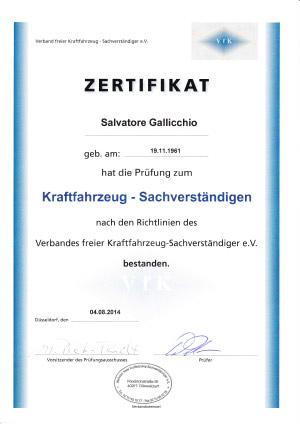Zertifikat-Kraftfahrzeug-Sachverstaendiger