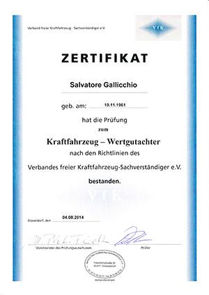 Zertifikat-Kraftfahrzeug-Wertgutachter