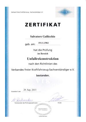 Zertifikat-Unfallrekonstruktion