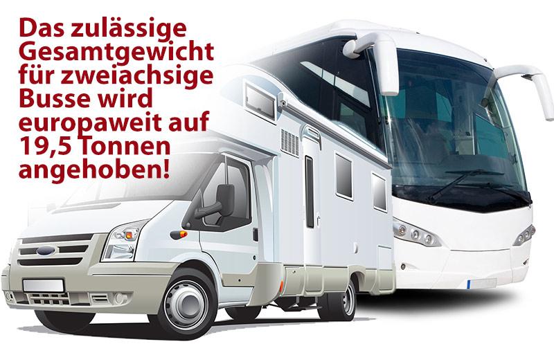 Beschlossen: das zulässige Gesamtgewicht für zweiachsige Busse wird europaweit auf 19,5 Tonnen angehoben