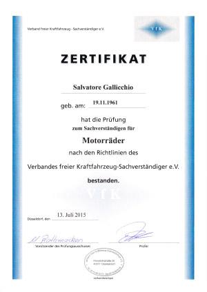 Zertifikat-Motorrad