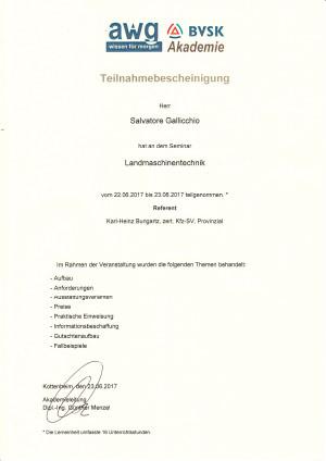 awg Certificate of Participation Landmaschinentechnik