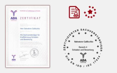 Zertifikat Sachverständiger KFZ Bewertung
