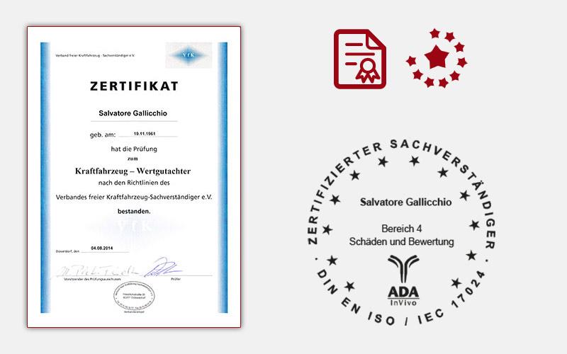Zertifikat Kraftfahrzeug Wertgutachter