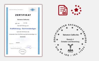 Zertifikat Kraftfahrzeug Sachverstaendiger