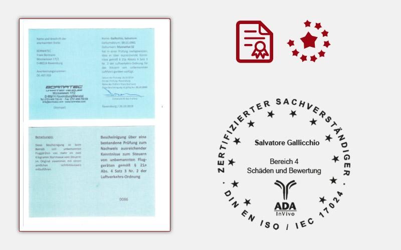 Bescheinigung über eine bestandene Prüfung zum Nachweis ausreichender Kenntnisse zum Steuern von unbemannten Flug-geräten gemäß § 21a Abs. 4 Satz 3 Nr. 2 der Luftverkehrs-Ordnung