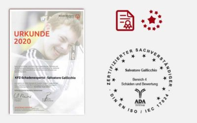KFZ-Schadenexperte | Urkunde 2020