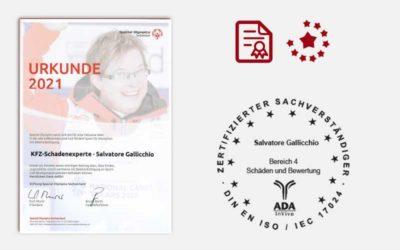 KFZ-Schadenexperte | Urkunde 2021